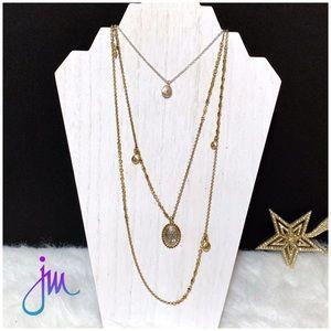 ●Lucky Brand Pave Triple Strand Necklace ●